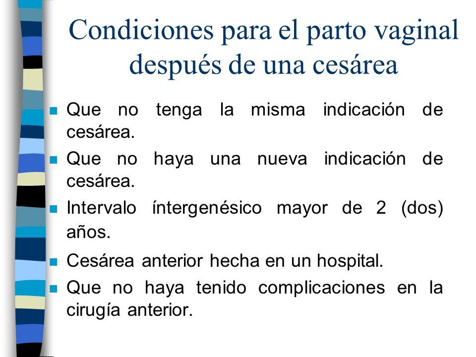 Condiciones para el parto vaginal después de una cesárea n Que no tenga la misma indicación de cesárea. n Que no haya una nueva indicación de cesárea.