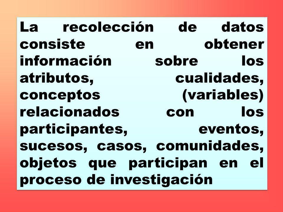 La recolección de datos consiste en obtener información sobre los atributos, cualidades, conceptos (variables) relacionados con los participantes, eve