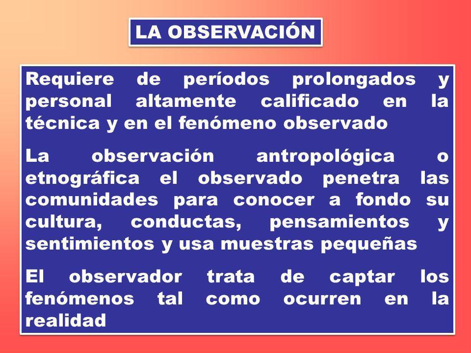 LA OBSERVACIÓN Requiere de períodos prolongados y personal altamente calificado en la técnica y en el fenómeno observado La observación antropológica