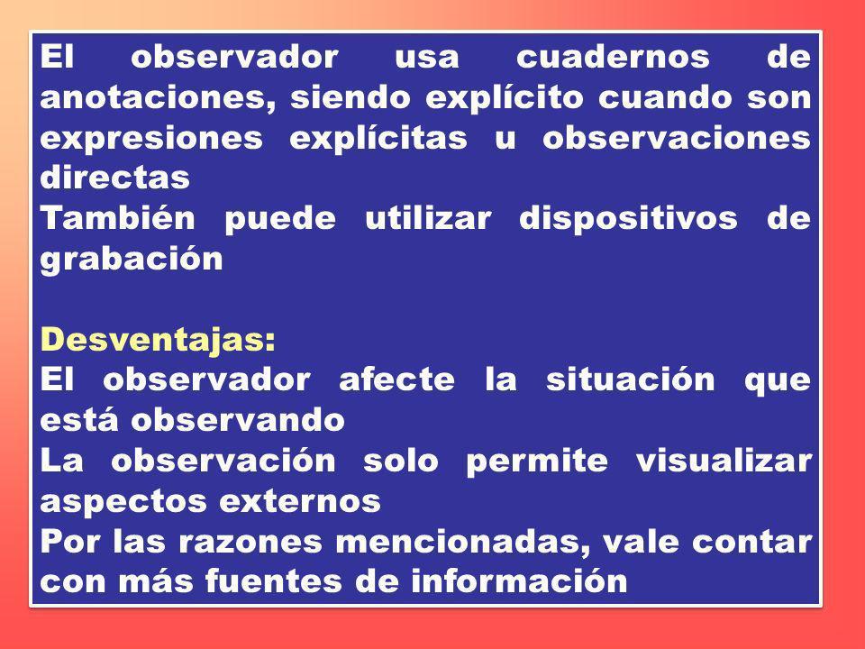 El observador usa cuadernos de anotaciones, siendo explícito cuando son expresiones explícitas u observaciones directas También puede utilizar disposi