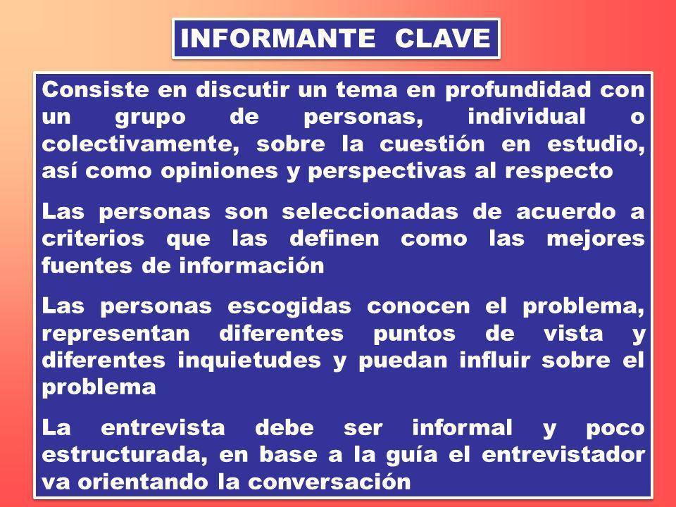 INFORMANTE CLAVE Consiste en discutir un tema en profundidad con un grupo de personas, individual o colectivamente, sobre la cuestión en estudio, así