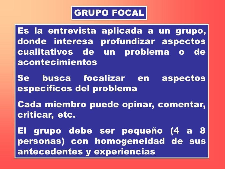 GRUPO FOCAL Es la entrevista aplicada a un grupo, donde interesa profundizar aspectos cualitativos de un problema o de acontecimientos Se busca focali