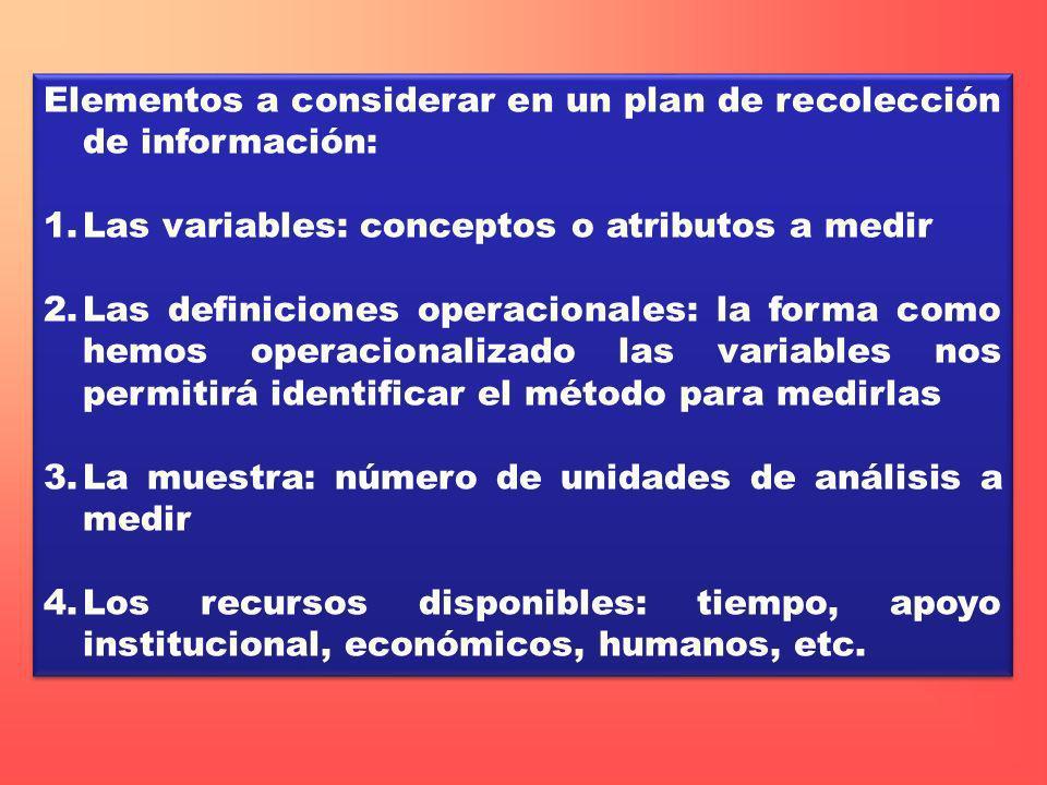 Elementos a considerar en un plan de recolección de información: 1.Las variables: conceptos o atributos a medir 2.Las definiciones operacionales: la f