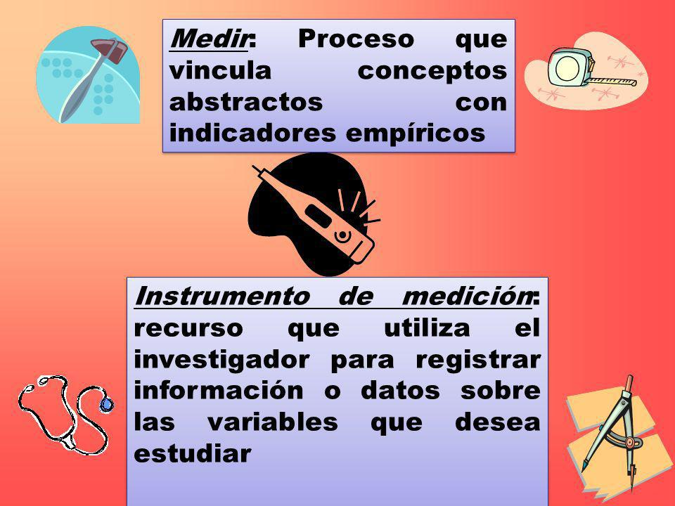 Instrumento de medición: recurso que utiliza el investigador para registrar información o datos sobre las variables que desea estudiar Medir: Proceso