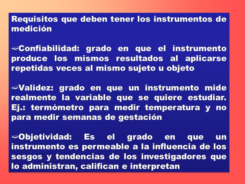 Requisitos que deben tener los instrumentos de medición Confiabilidad: grado en que el instrumento produce los mismos resultados al aplicarse repetida