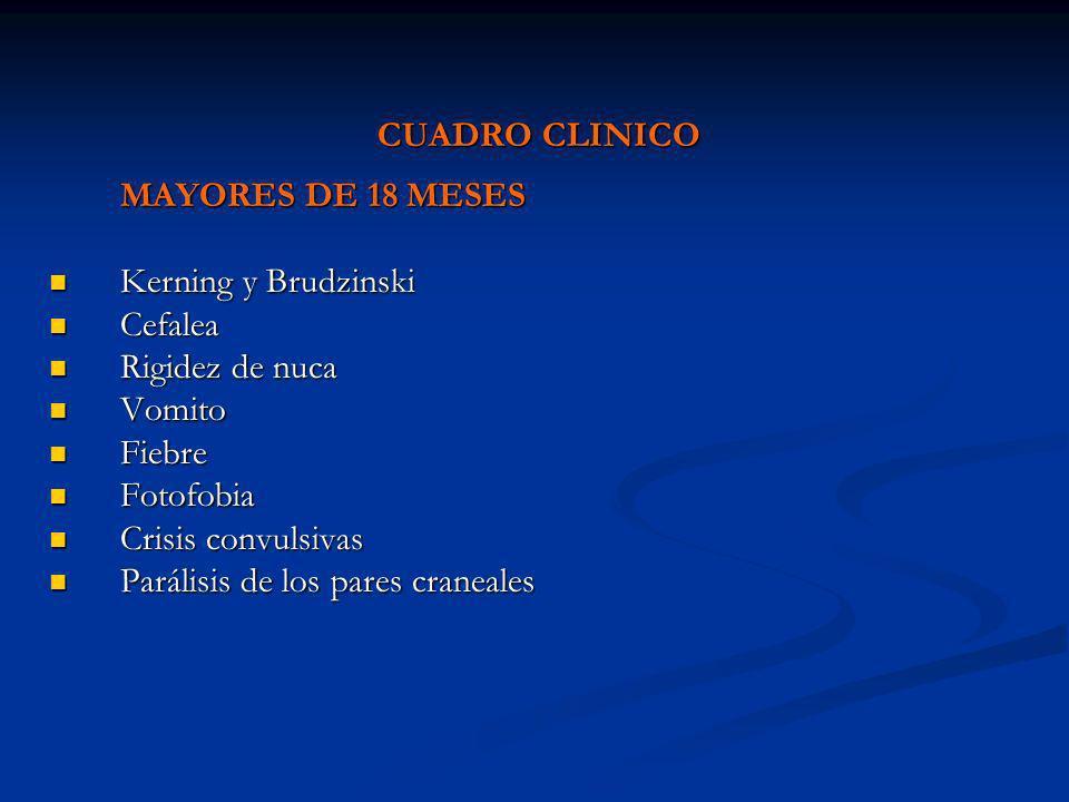 CUADRO CLINICO MAYORES DE 18 MESES Kerning y Brudzinski Kerning y Brudzinski Cefalea Cefalea Rigidez de nuca Rigidez de nuca Vomito Vomito Fiebre Fieb