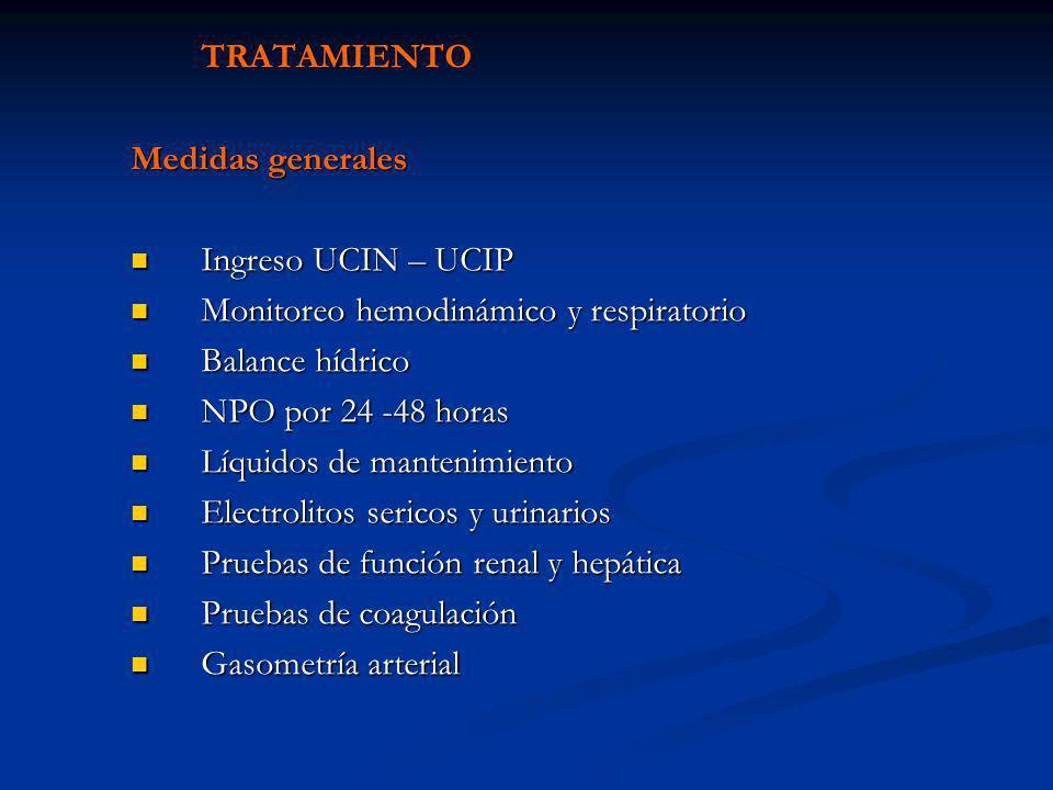 TRATAMIENTO Medidas generales Ingreso UCIN – UCIP Ingreso UCIN – UCIP Monitoreo hemodinámico y respiratorio Monitoreo hemodinámico y respiratorio Bala