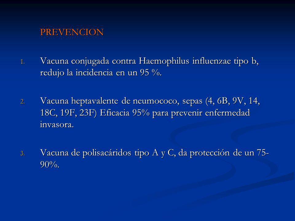 PREVENCION 1. Vacuna conjugada contra Haemophilus influenzae tipo b, redujo la incidencia en un 95 %. 2. Vacuna heptavalente de neumococo, sepas (4, 6