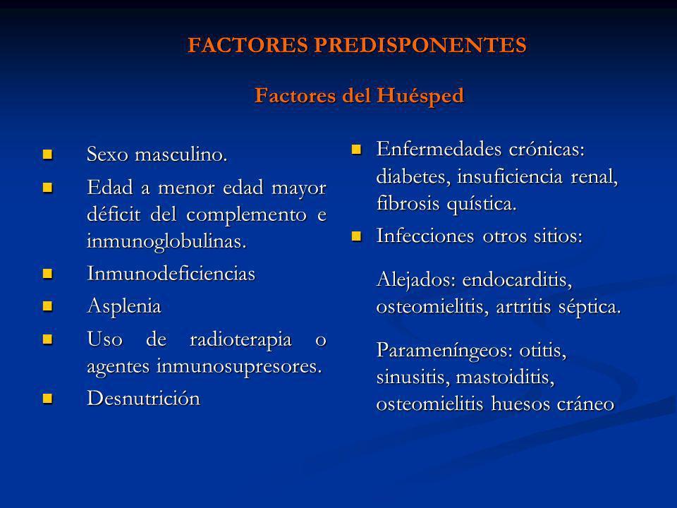 FACTORES PREDISPONENTES Factores del Huésped Sexo masculino. Sexo masculino. Edad a menor edad mayor déficit del complemento e inmunoglobulinas. Edad