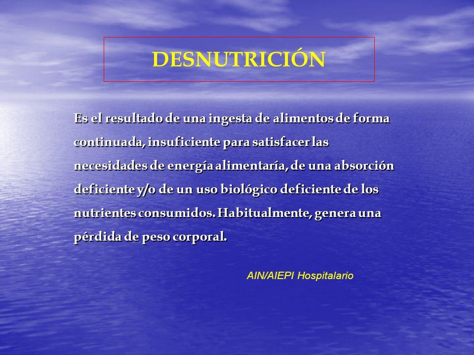 DESNUTRICIÓN E Es un estado patológico caracterizado por la falta de aporte adecuado de energía y/o de nutrientes acordes con las necesidades biológicas del organismo, que produce un estado catabólico, sistémico y potencialmente reversible INTRODUCCION A LA PEDIATRIA