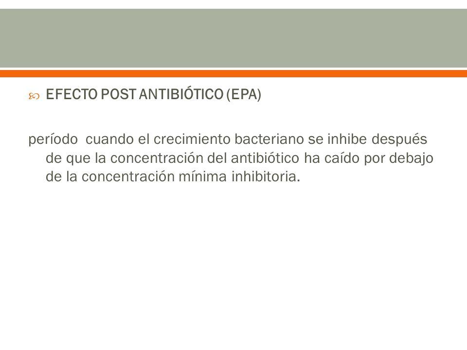 EFECTO POST ANTIBIÓTICO (EPA) período cuando el crecimiento bacteriano se inhibe después de que la concentración del antibiótico ha caído por debajo d