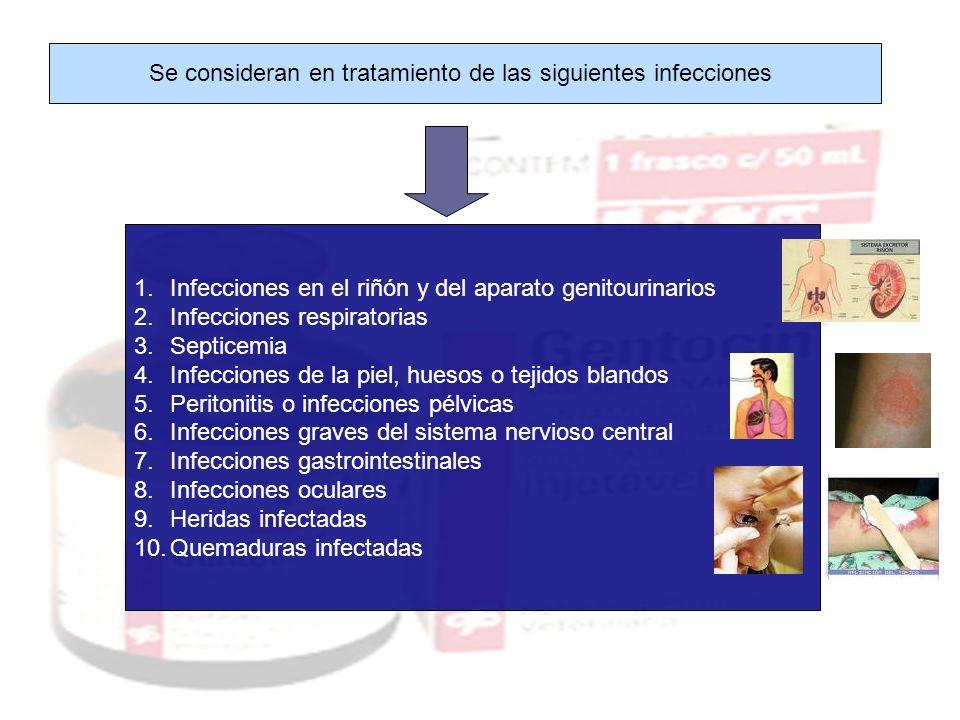 Se consideran en tratamiento de las siguientes infecciones 1.Infecciones en el riñón y del aparato genitourinarios 2.Infecciones respiratorias 3.Septi