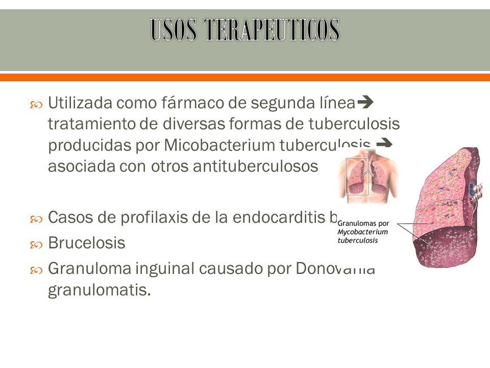Utilizada como fármaco de segunda línea tratamiento de diversas formas de tuberculosis producidas por Micobacterium tuberculosis asociada con otros an