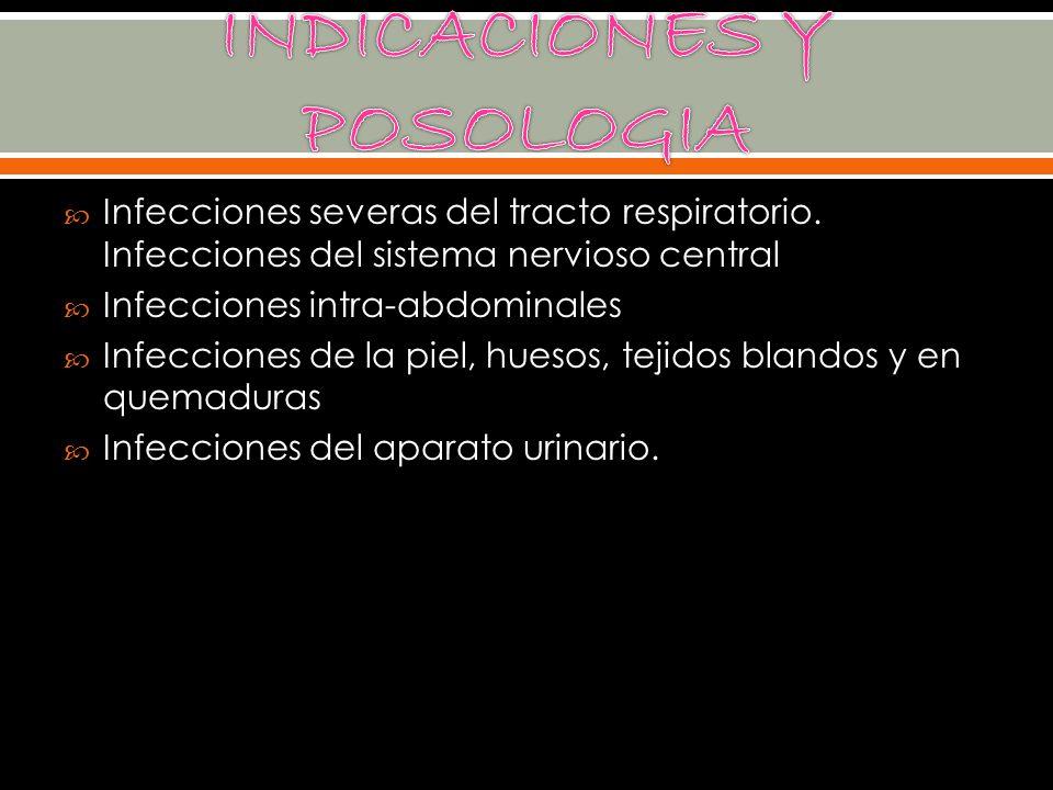 Infecciones severas del tracto respiratorio. Infecciones del sistema nervioso central Infecciones intra-abdominales Infecciones de la piel, huesos, te