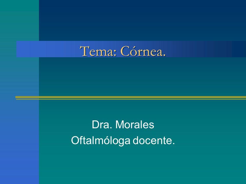 Tema: Córnea. Dra. Morales Oftalmóloga docente.