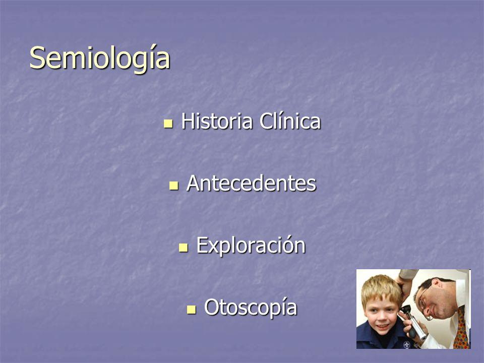 Semiología Historia Clínica Historia Clínica Antecedentes Antecedentes Exploración Exploración Otoscopía Otoscopía
