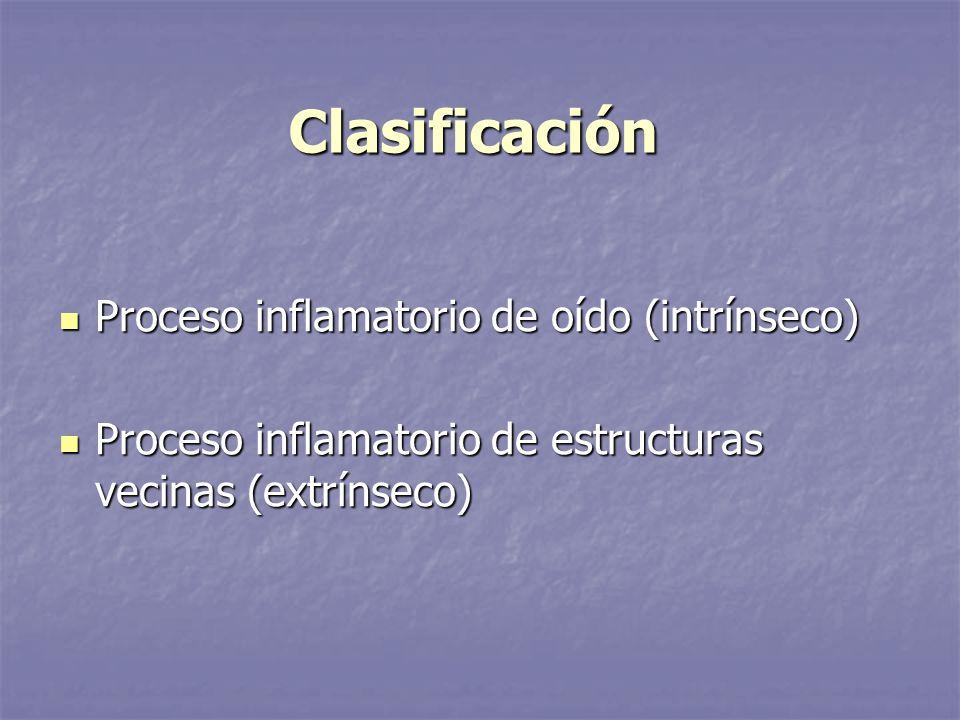 Clasificación Proceso inflamatorio de oído (intrínseco) Proceso inflamatorio de oído (intrínseco) Proceso inflamatorio de estructuras vecinas (extríns