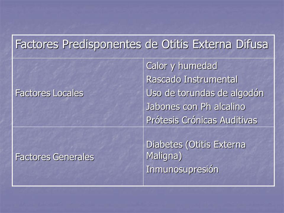 Factores Predisponentes de Otitis Externa Difusa Factores Locales Calor y humedad Rascado Instrumental Uso de torundas de algodón Jabones con Ph alcal