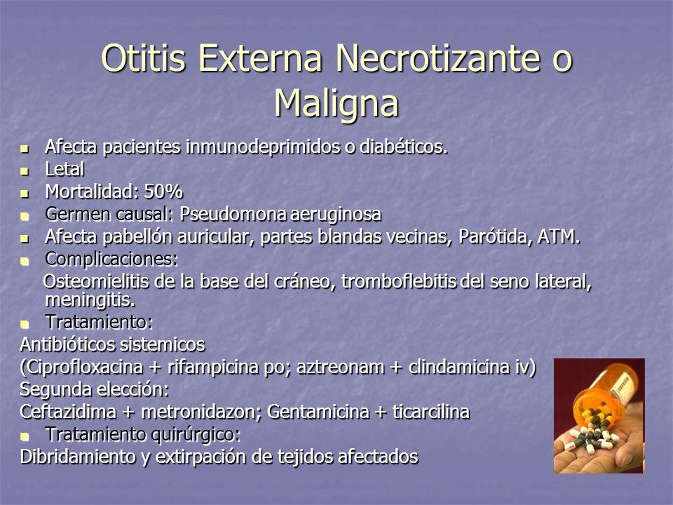 Otitis Externa Necrotizante o Maligna Afecta pacientes inmunodeprimidos o diabéticos. Afecta pacientes inmunodeprimidos o diabéticos. Letal Letal Mort