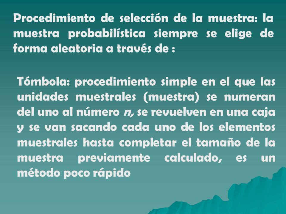 Procedimiento de selección de la muestra: la muestra probabilística siempre se elige de forma aleatoria a través de : Tómbola: procedimiento simple en