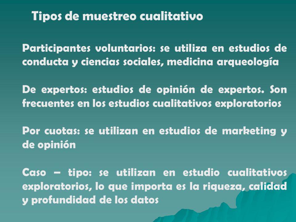 Tipos de muestreo cualitativo Participantes voluntarios: se utiliza en estudios de conducta y ciencias sociales, medicina arqueología De expertos: est