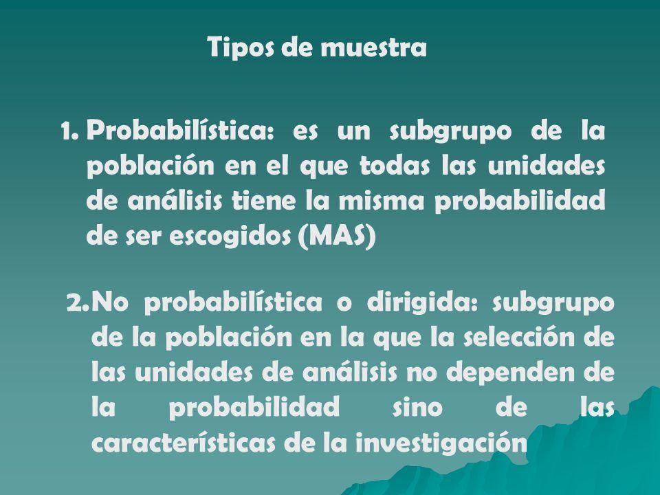 Tipos de muestra 1.Probabilística: es un subgrupo de la población en el que todas las unidades de análisis tiene la misma probabilidad de ser escogido