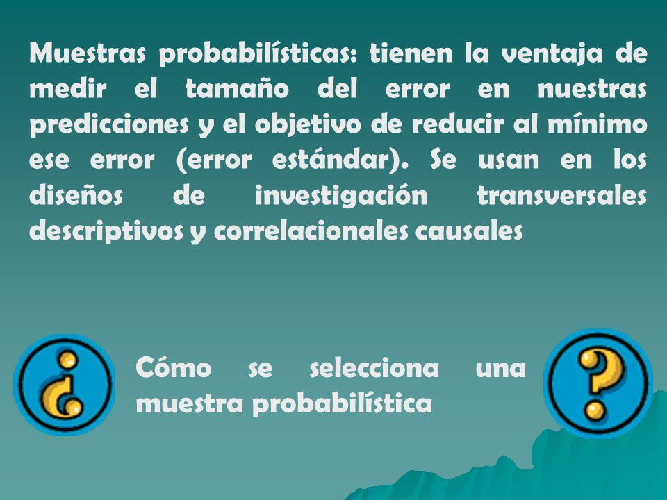 Muestras probabilísticas: tienen la ventaja de medir el tamaño del error en nuestras predicciones y el objetivo de reducir al mínimo ese error (error