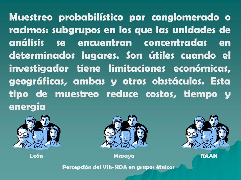Muestreo probabilístico por conglomerado o racimos: subgrupos en los que las unidades de análisis se encuentran concentradas en determinados lugares.