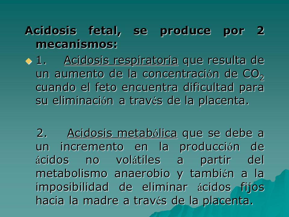 Acidosis fetal, se produce por 2 mecanismos: 1. Acidosis respiratoria que resulta de un aumento de la concentraci ó n de CO 2 cuando el feto encuentra