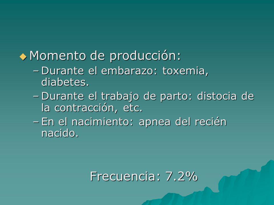 Momento de producción: Momento de producción: –Durante el embarazo: toxemia, diabetes. –Durante el trabajo de parto: distocia de la contracción, etc.