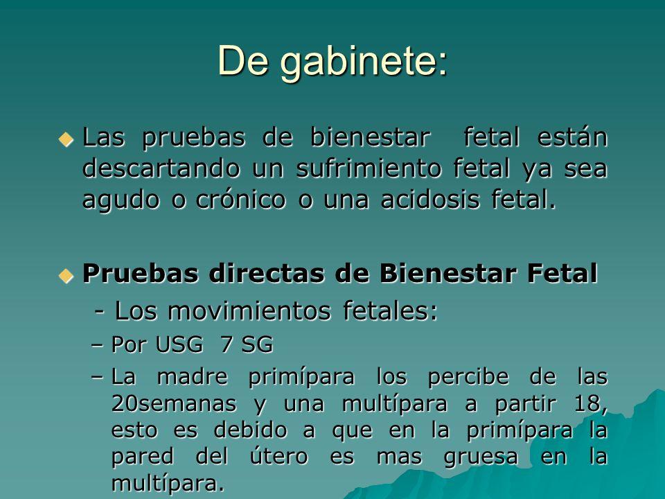 De gabinete: Las pruebas de bienestar fetal están descartando un sufrimiento fetal ya sea agudo o crónico o una acidosis fetal. Las pruebas de bienest
