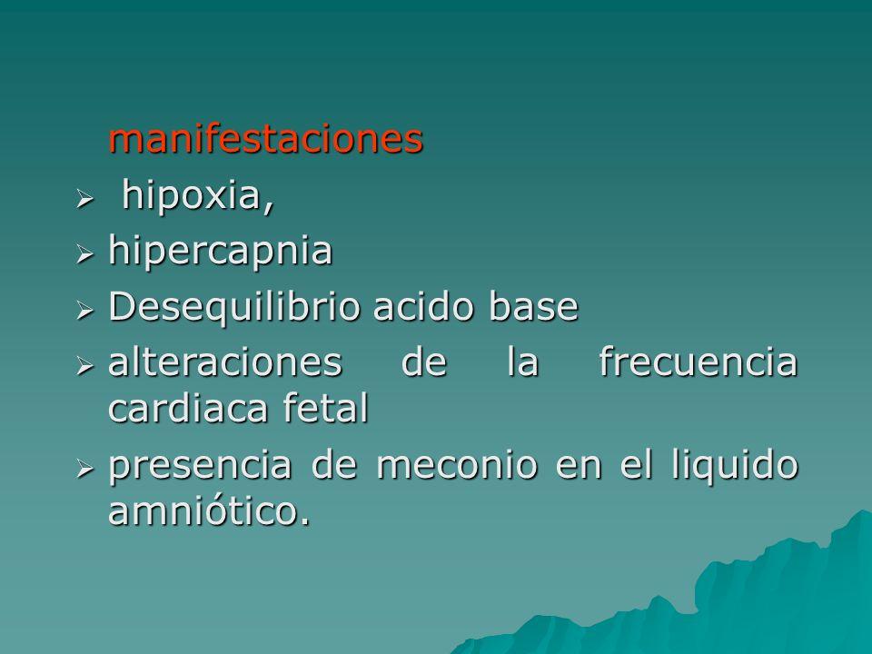 manifestaciones hipoxia, hipoxia, hipercapnia hipercapnia Desequilibrio acido base Desequilibrio acido base alteraciones de la frecuencia cardiaca fet