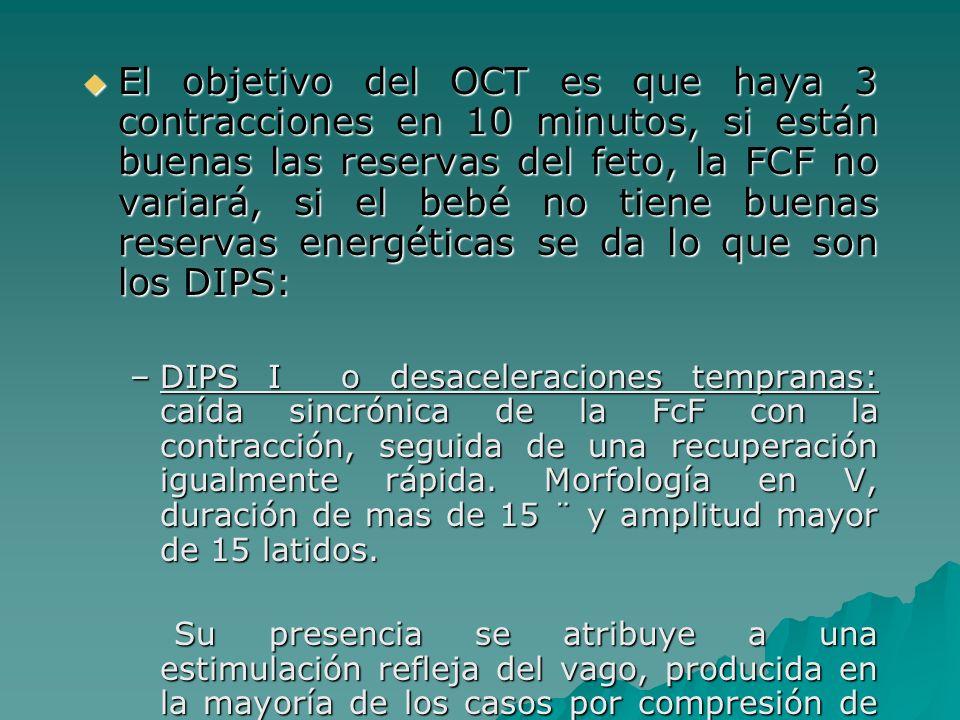 El objetivo del OCT es que haya 3 contracciones en 10 minutos, si están buenas las reservas del feto, la FCF no variará, si el bebé no tiene buenas re