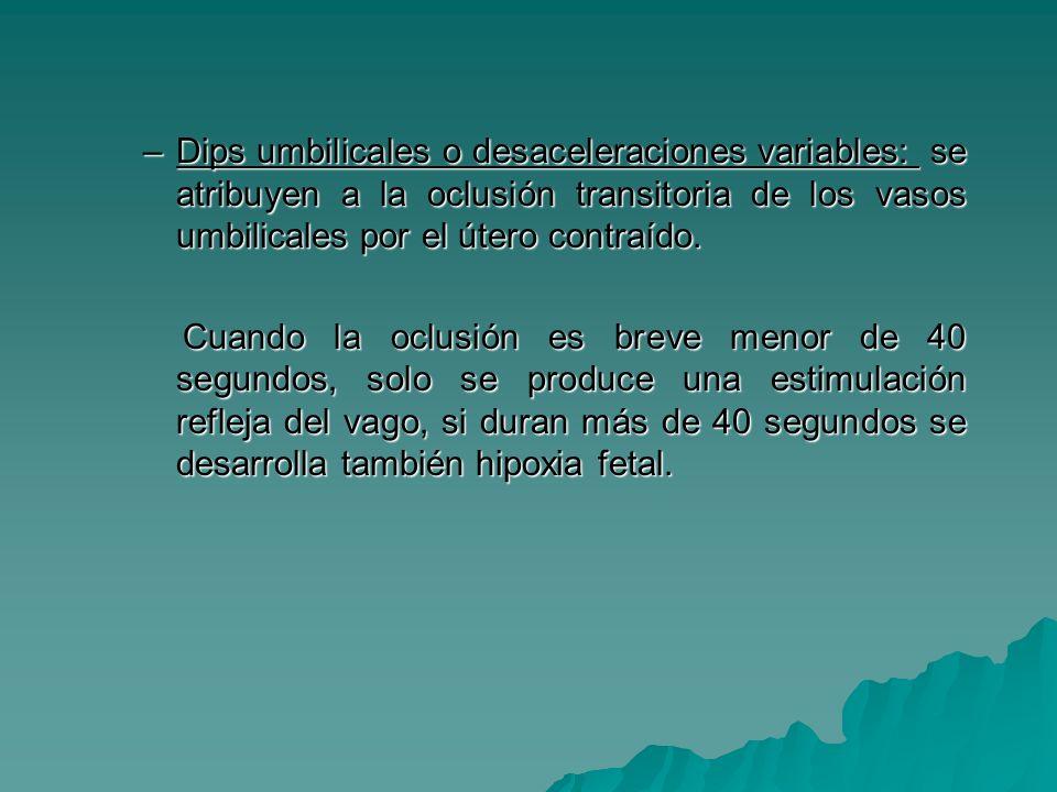–Dips umbilicales o desaceleraciones variables: se atribuyen a la oclusión transitoria de los vasos umbilicales por el útero contraído. Cuando la oclu