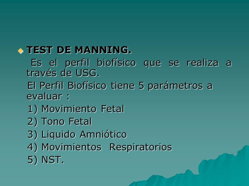 TEST DE MANNING. TEST DE MANNING. Es el perfil biofísico que se realiza a través de USG. Es el perfil biofísico que se realiza a través de USG. El Per