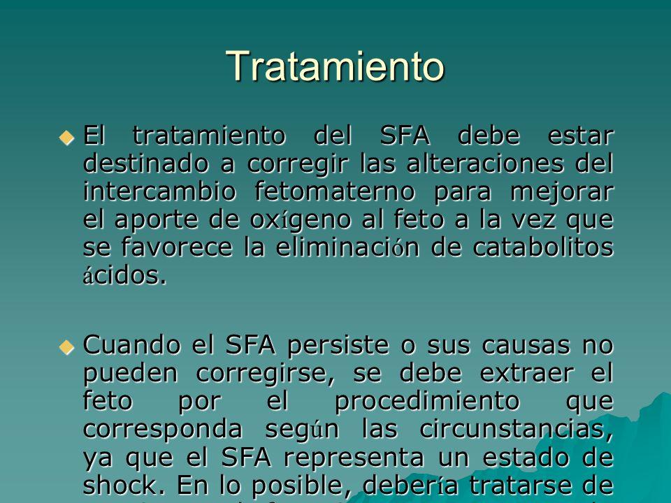 Tratamiento El tratamiento del SFA debe estar destinado a corregir las alteraciones del intercambio fetomaterno para mejorar el aporte de ox í geno al