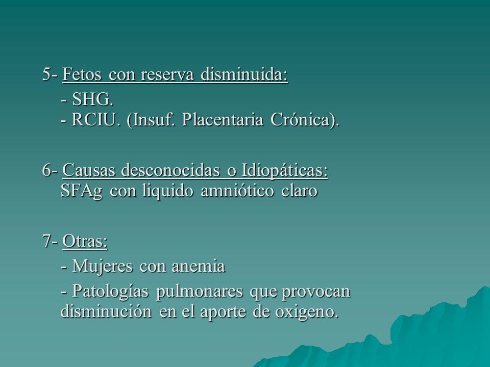 5- Fetos con reserva disminuida: - SHG. - RCIU. (Insuf. Placentaria Crónica). - SHG. - RCIU. (Insuf. Placentaria Crónica). 6- Causas desconocidas o Id