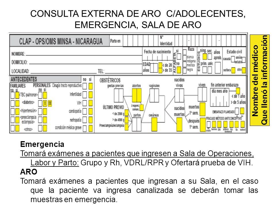 Emergencia Tomará exámenes a pacientes que ingresen a Sala de Operaciones, Labor y Parto: Grupo y Rh, VDRL/RPR y Ofertará prueba de VIH. ARO Tomará ex
