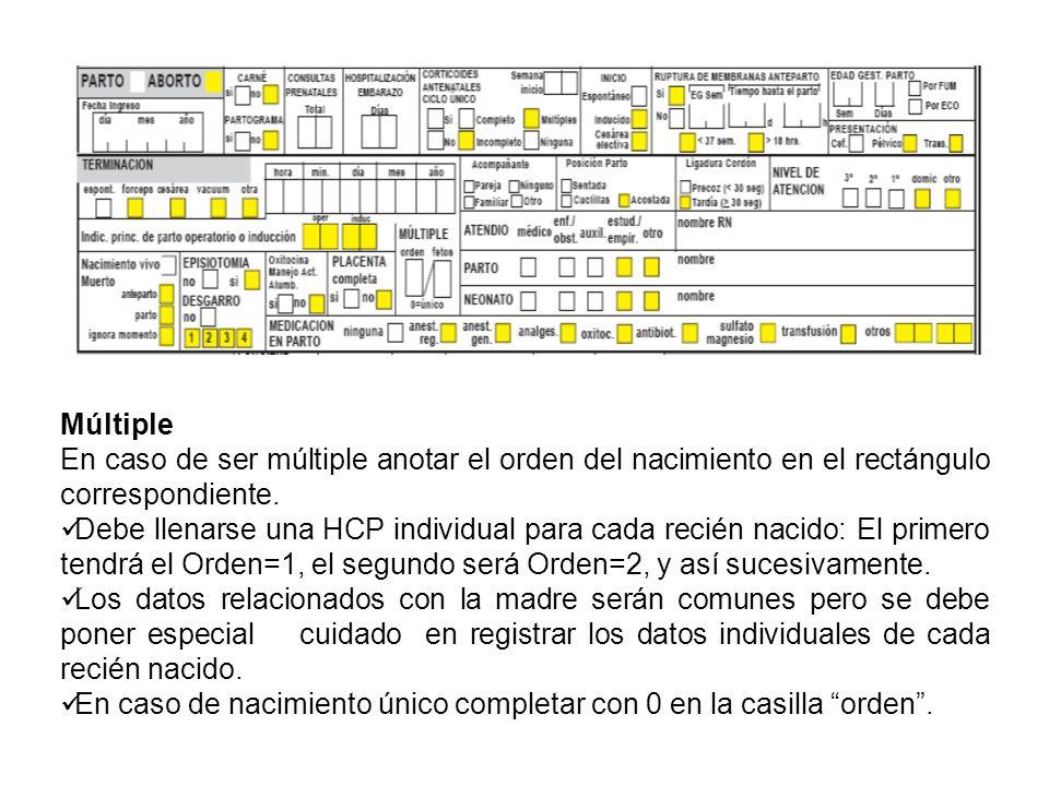 Múltiple En caso de ser múltiple anotar el orden del nacimiento en el rectángulo correspondiente. Debe llenarse una HCP individual para cada recién na