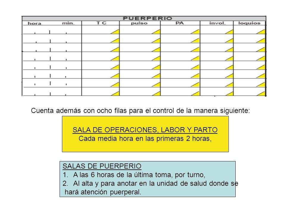 Cuenta además con ocho filas para el control de la manera siguiente: SALA DE OPERACIONES, LABOR Y PARTO Cada media hora en las primeras 2 horas, SALAS