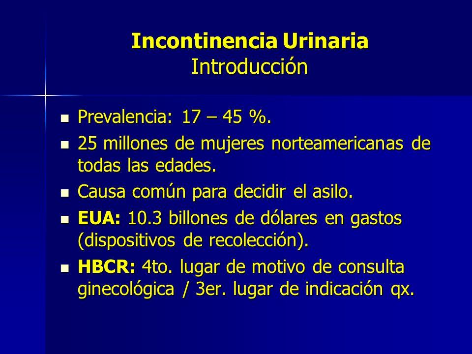 Incontinencia Urinaria Introducción Prevalencia: 17 – 45 %. Prevalencia: 17 – 45 %. 25 millones de mujeres norteamericanas de todas las edades. 25 mil