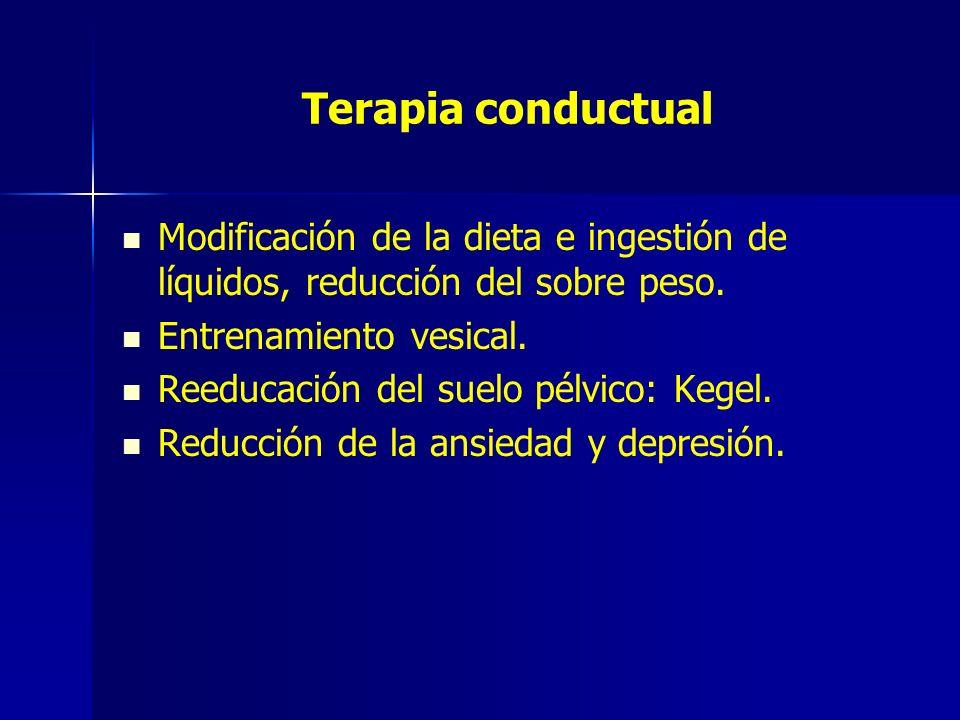 Terapia conductual Modificación de la dieta e ingestión de líquidos, reducción del sobre peso. Entrenamiento vesical. Reeducación del suelo pélvico: K