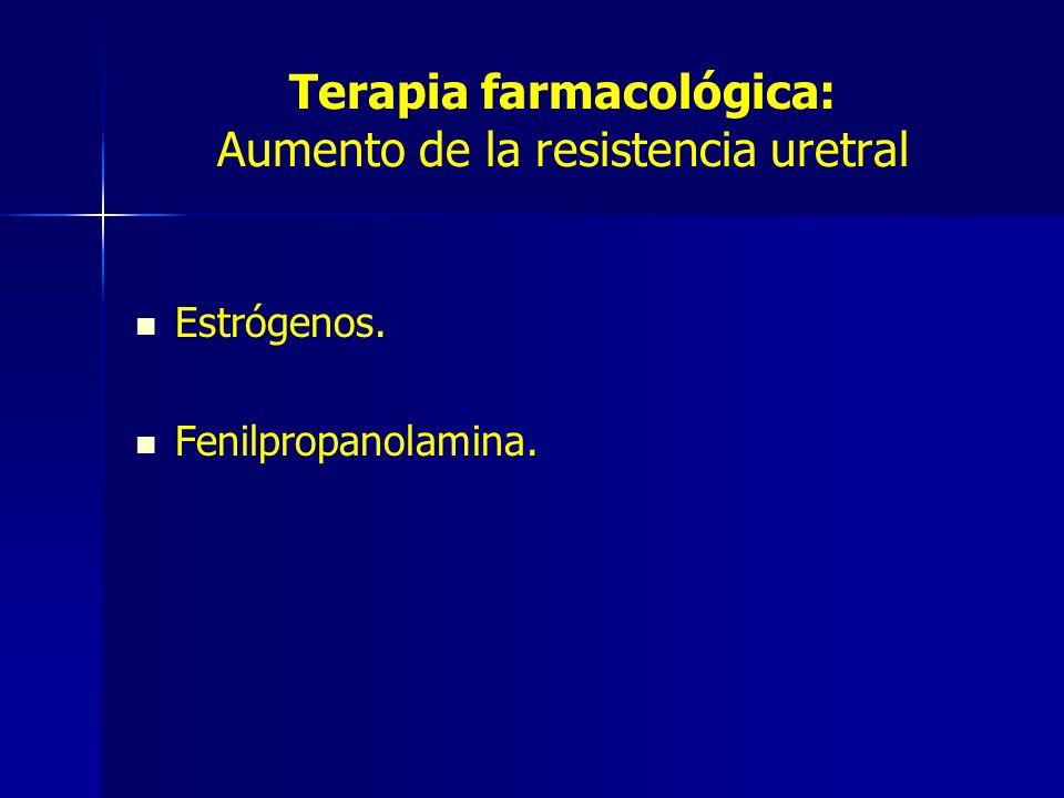 Terapia farmacológica: Aumento de la resistencia uretral Estrógenos. Fenilpropanolamina.
