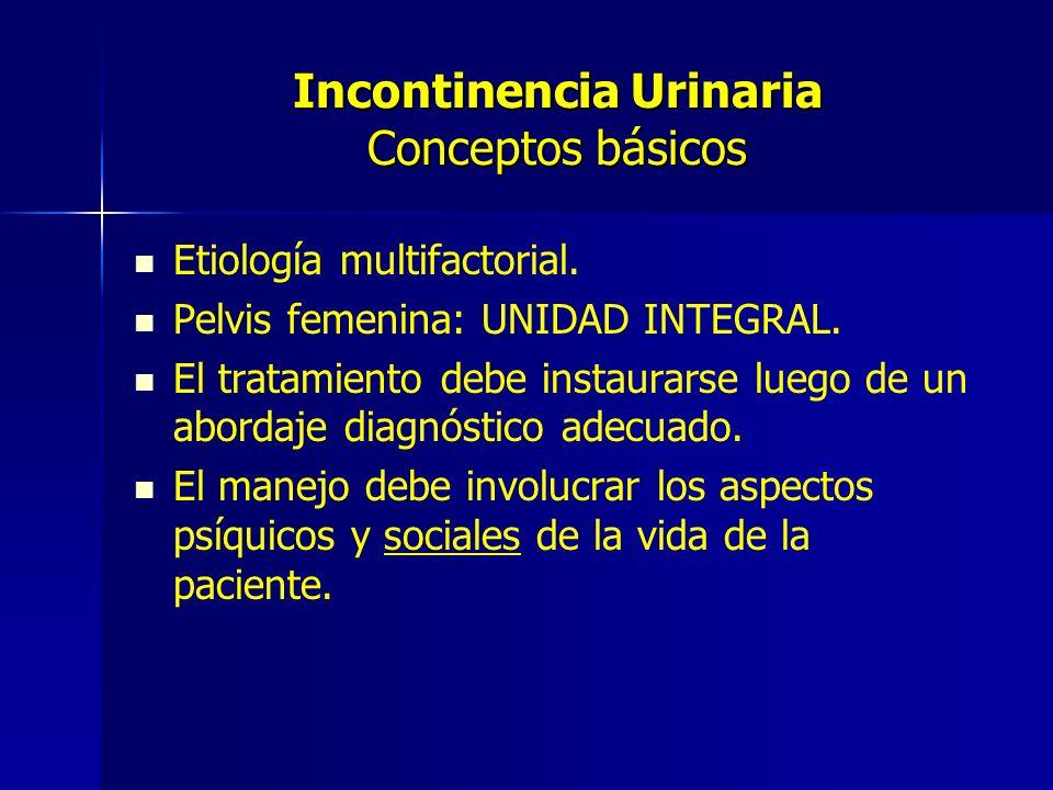 Incontinencia Urinaria Conceptos básicos Etiología multifactorial. Pelvis femenina: UNIDAD INTEGRAL. El tratamiento debe instaurarse luego de un abord