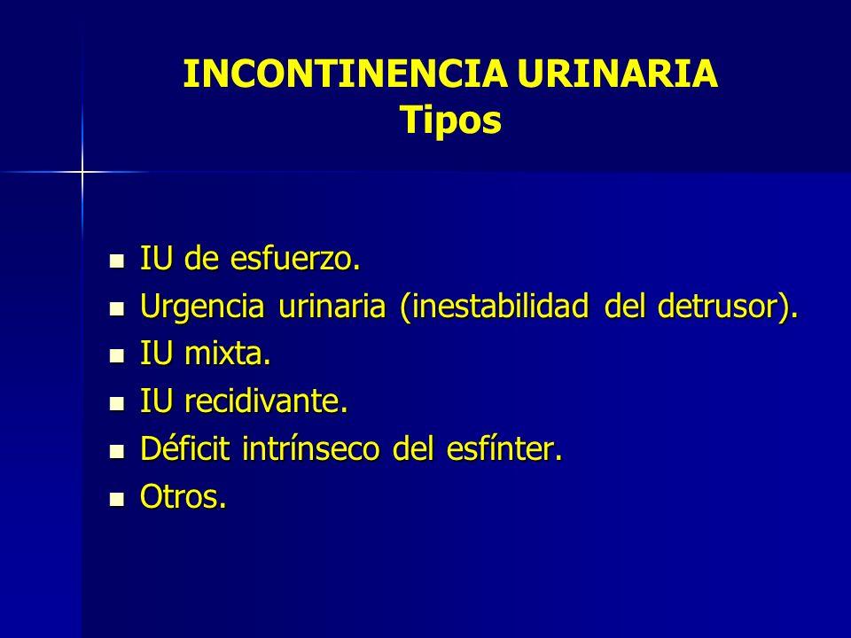 IU de esfuerzo. IU de esfuerzo. Urgencia urinaria (inestabilidad del detrusor). Urgencia urinaria (inestabilidad del detrusor). IU mixta. IU mixta. IU