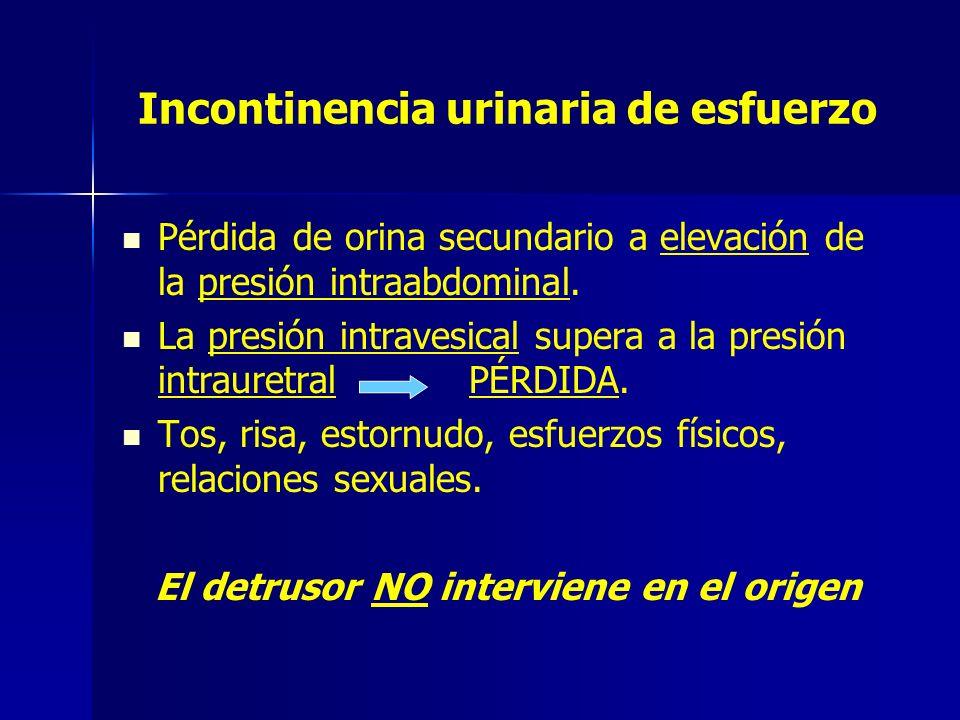 Incontinencia urinaria de esfuerzo Pérdida de orina secundario a elevación de la presión intraabdominal. La presión intravesical supera a la presión i