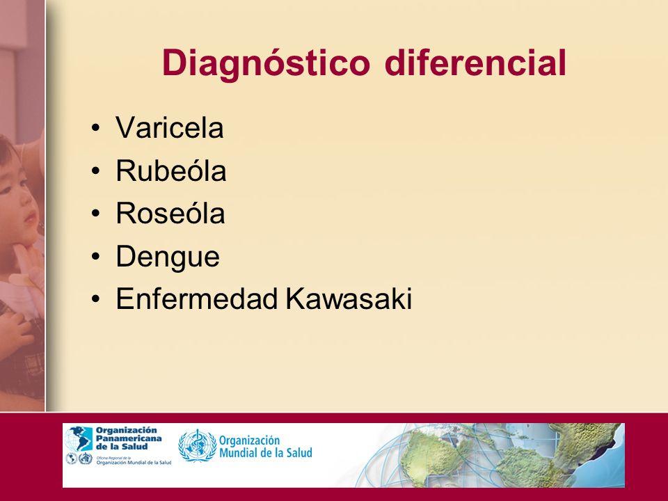 Diagnóstico diferencial Varicela Rubeóla Roseóla Dengue Enfermedad Kawasaki