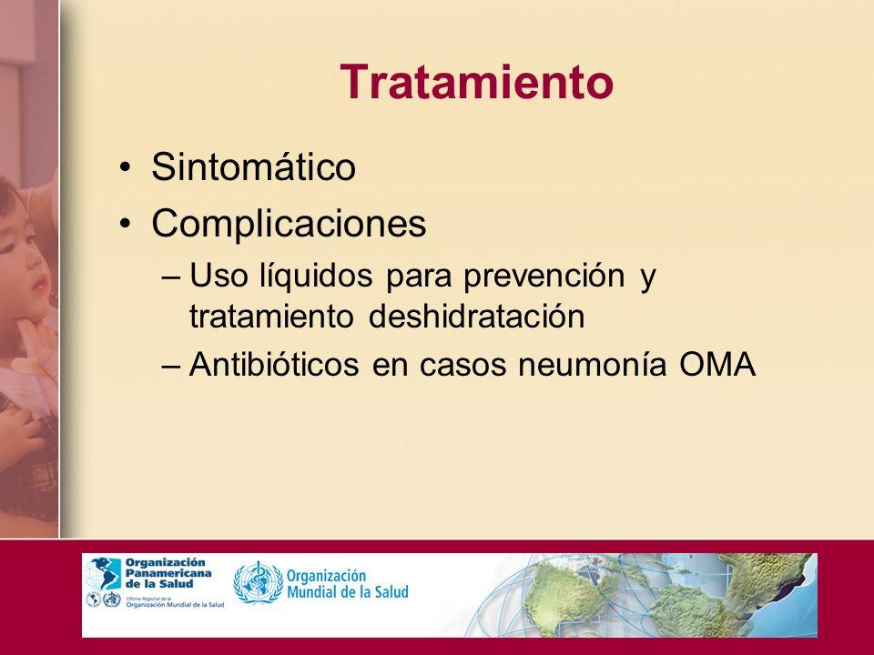 Tratamiento Sintomático Complicaciones –Uso líquidos para prevención y tratamiento deshidratación –Antibióticos en casos neumonía OMA