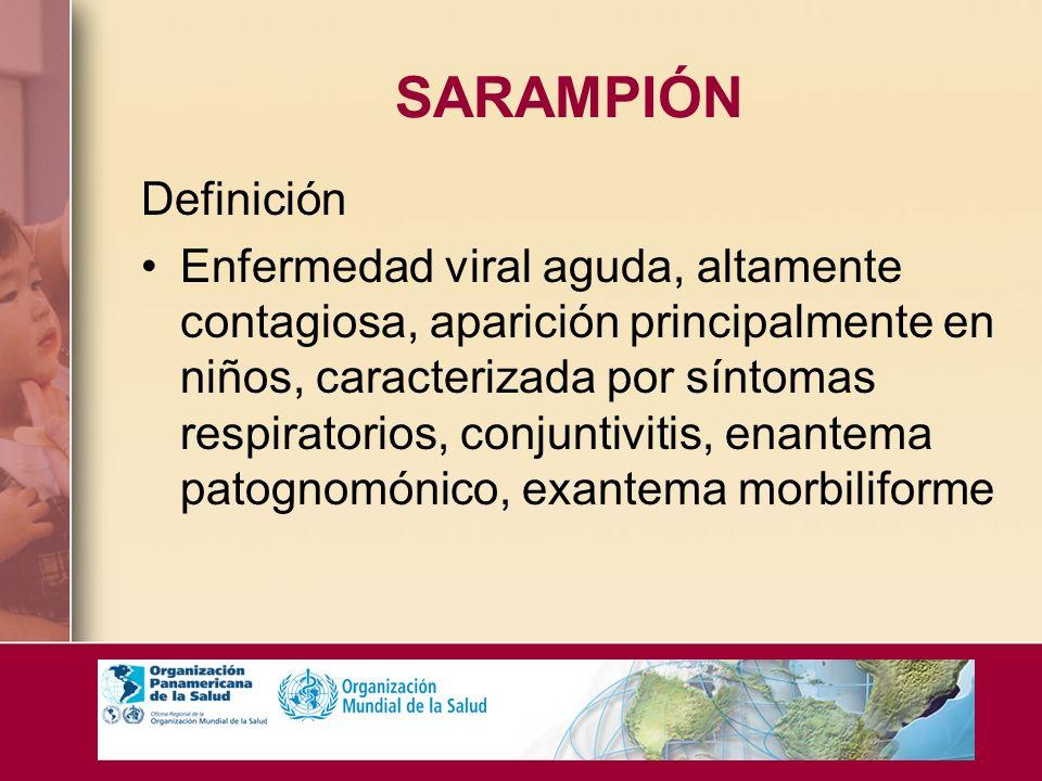 SARAMPIÓN Definición Enfermedad viral aguda, altamente contagiosa, aparición principalmente en niños, caracterizada por síntomas respiratorios, conjun