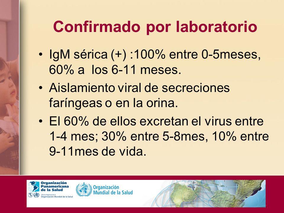 Confirmado por laboratorio IgM sérica (+) :100% entre 0-5meses, 60% a los 6-11 meses. Aislamiento viral de secreciones faríngeas o en la orina. El 60%